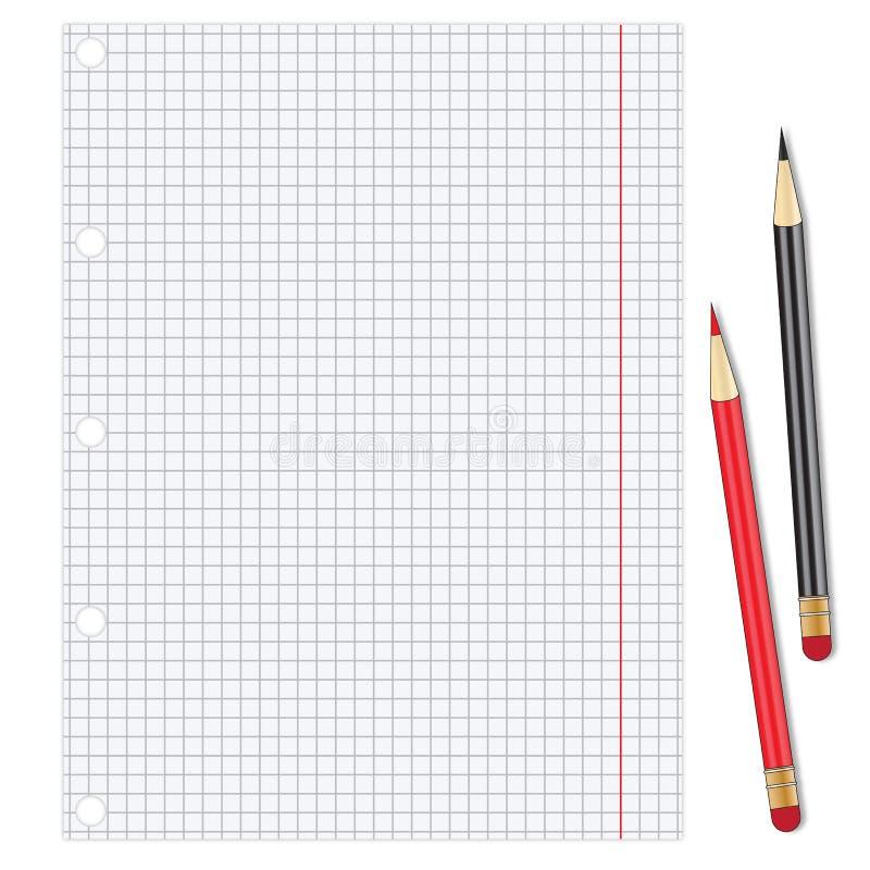 Folha do Livro Branco com lápis ilustração do vetor