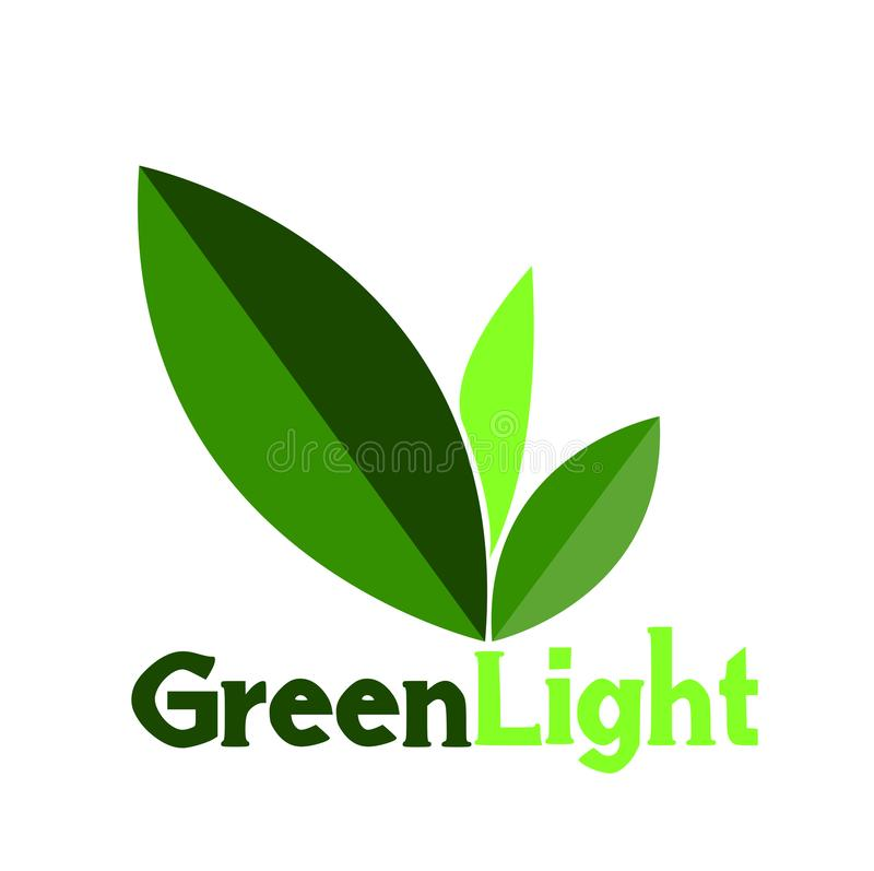 Folha do logotipo ou do símbolo da luz verde ilustração stock