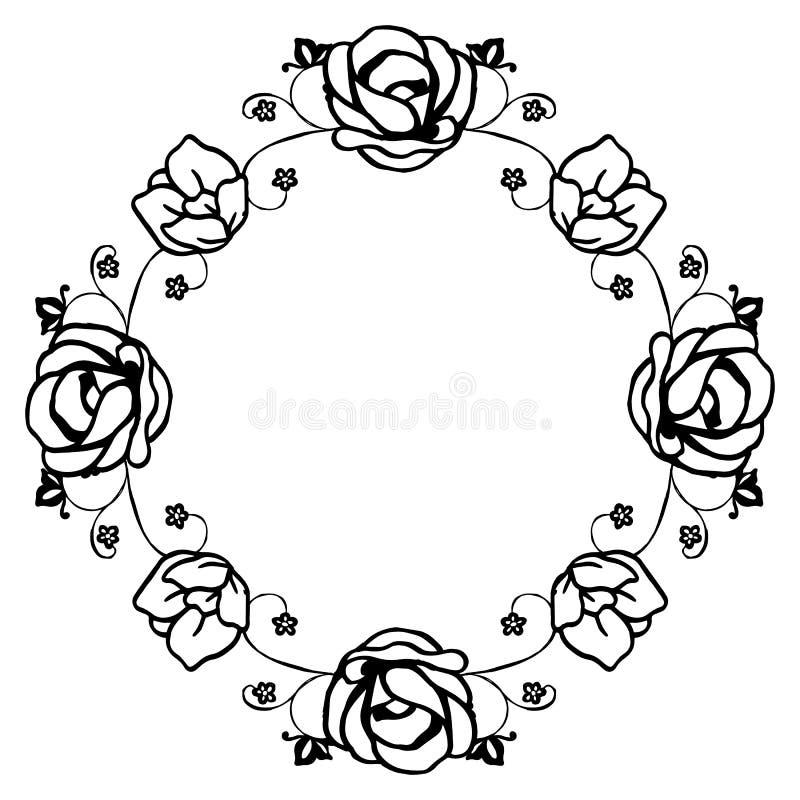 Folha do ornamento da beira da flor do quadro, teste padrão retro, bandeira, cartaz Vetor ilustração do vetor
