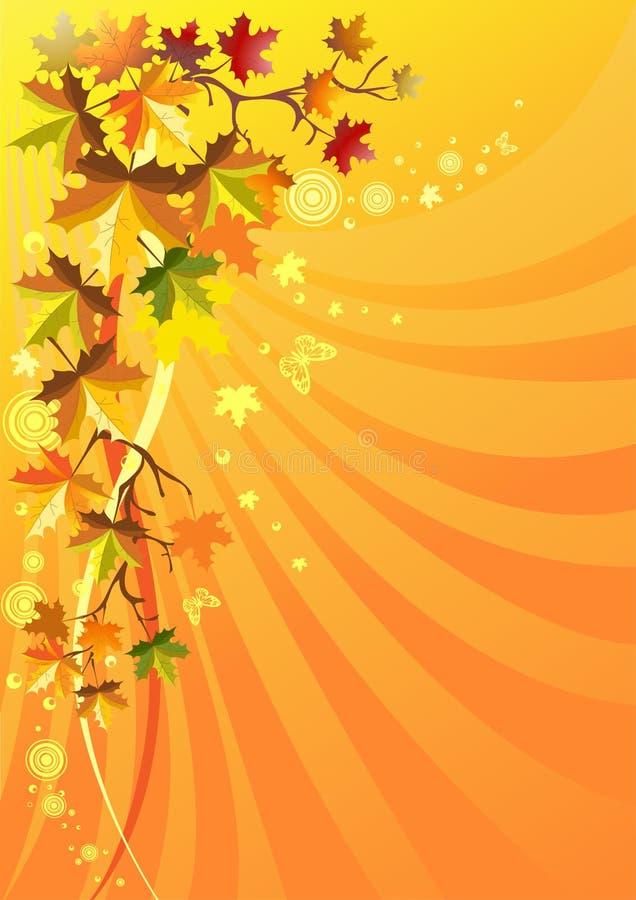 Folha do outono em um fundo solar ilustração royalty free