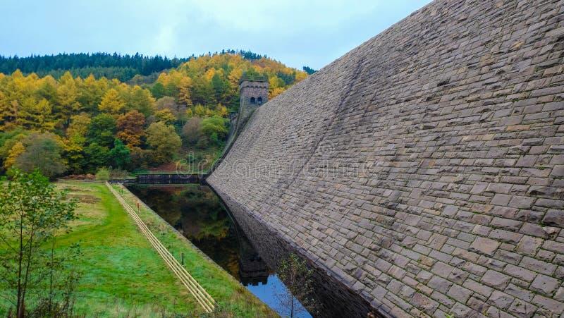 Folha do outono na represa de Derwent, distrito máximo fotos de stock