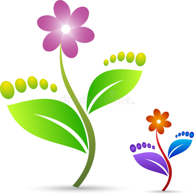 Folha do pé com flor ilustração stock