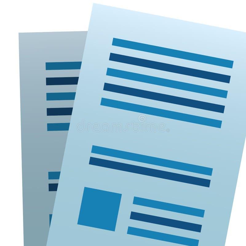 Folha do papel do documento ilustração stock