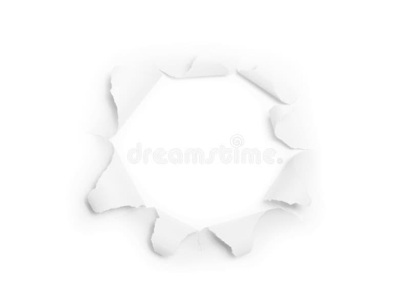 A folha do papel rasgado com o furo redondo (isolado) imagens de stock