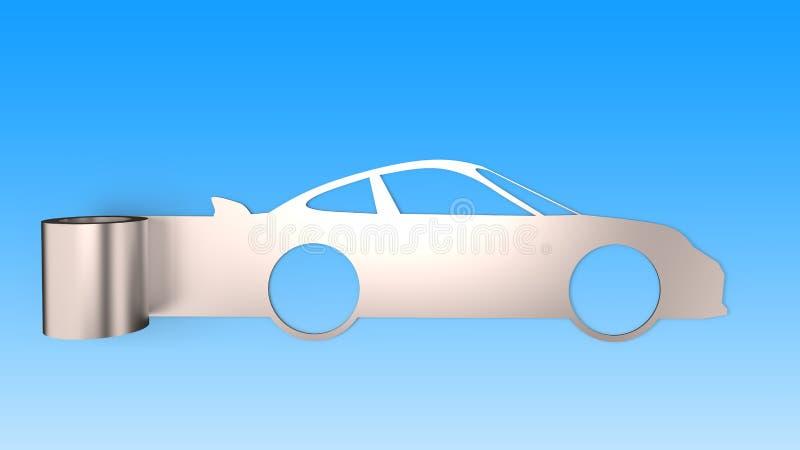 Folha do rolo do metal na forma do carro desportivo, isolada no fundo azul, conceito da economia de energia, ilustração 3D ilustração do vetor