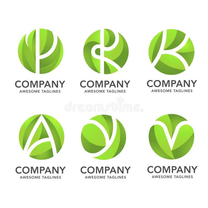 Folha do verde do círculo com vário logotipo escondido da letra ilustração stock