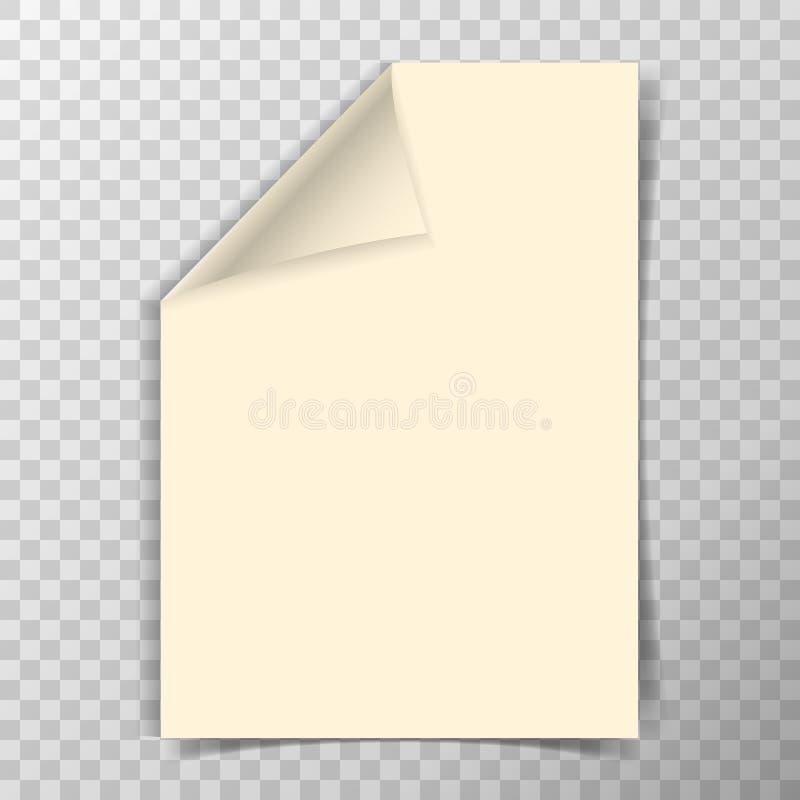 Folha dobrada do papel a4 no fundo transparente ilustração royalty free