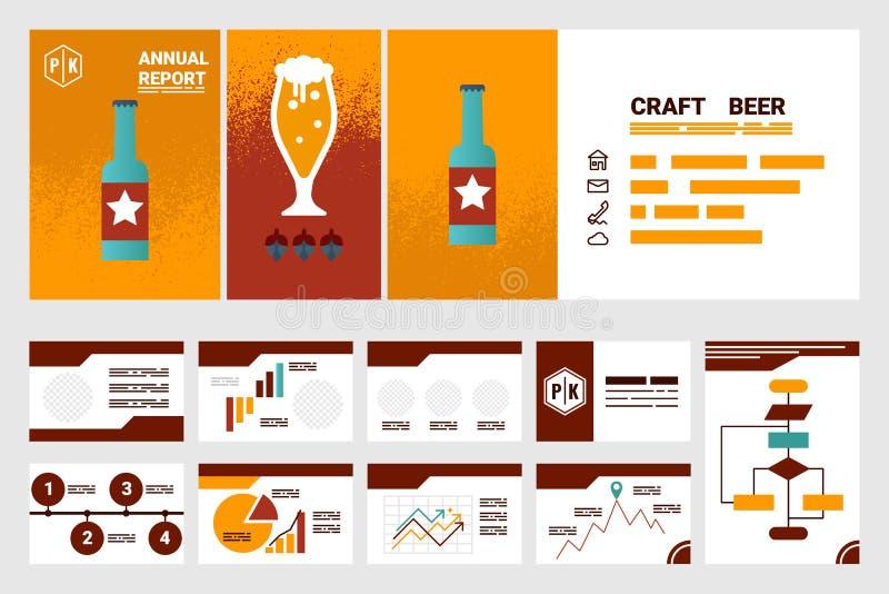 Folha e apresentação da tampa A4 do informe anual da empresa da cerveja do ofício ilustração do vetor
