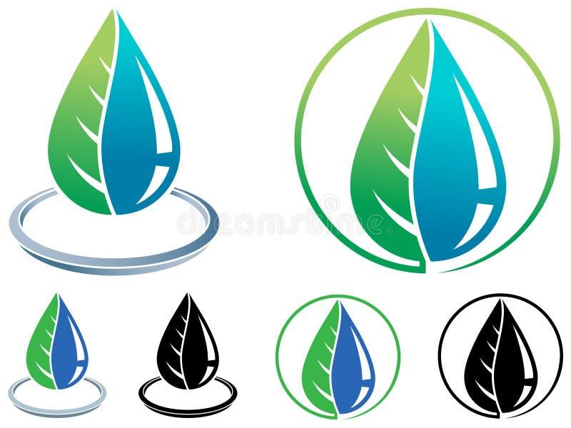 Folha e logotipo da gota ilustração stock