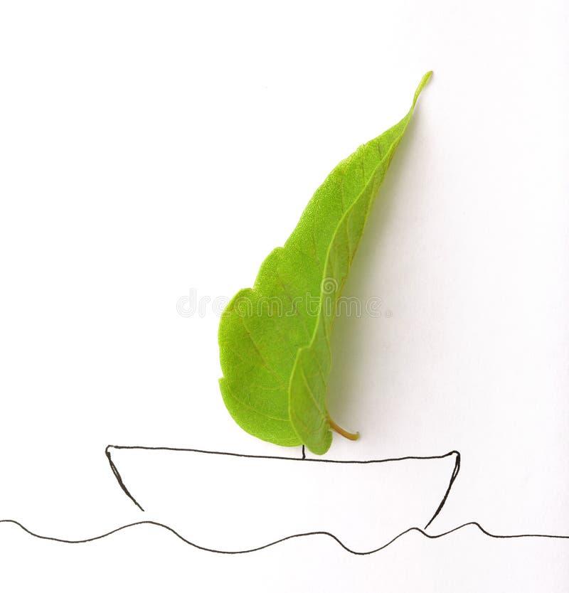 Folha e navio verdes do drow imagens de stock
