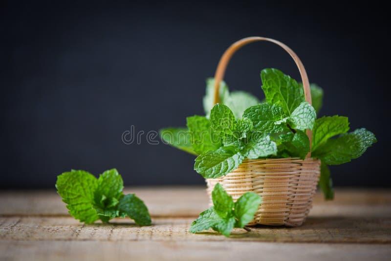 Folha em uma cesta - folhas da pastilha de hortelã de hortelã fresca no fundo escuro foto de stock royalty free