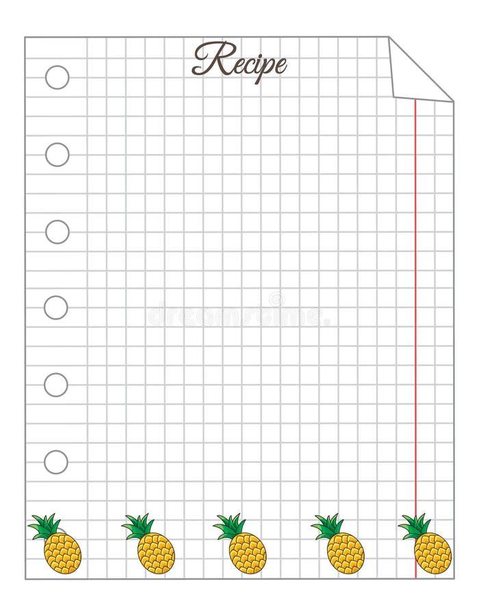 Folha em uma gaiola Uma folha do bloco de notas Papel de nota Papel para receitas Papel da receita com abacaxi ilustração stock