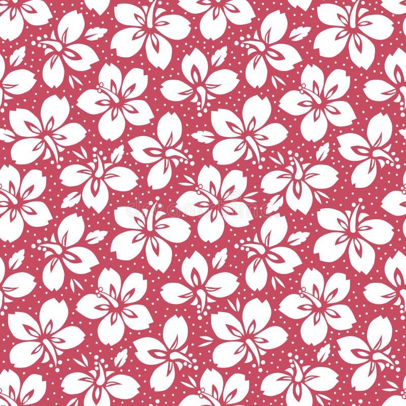 Folha exótica tropical branca, teste padrão sem emenda do vetor floral do hibiscus Flores tropicais luxúrias no fundo vermelho ilustração royalty free