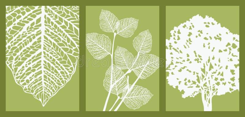 Folha, filial e árvore ilustração royalty free