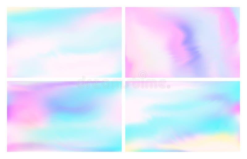 Folha holográfica iridescente Céu das cores pastel da fantasia, opala iridescente dos arcos-íris e vetor colorido mágico do p ilustração stock