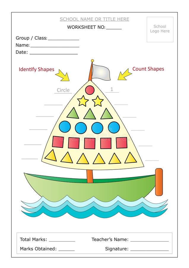 Folha: Identifique & conte formas básicas ilustração royalty free