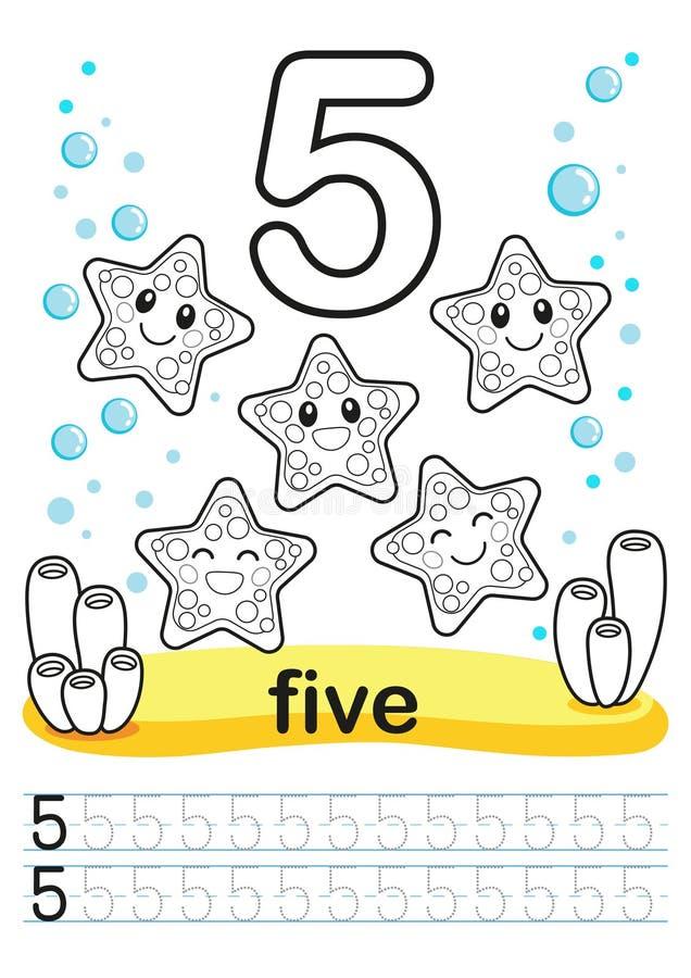 Folha imprimível colorindo para o jardim de infância e o pré-escolar Nós treinamos para escrever números Exercícios da matemática imagem de stock royalty free