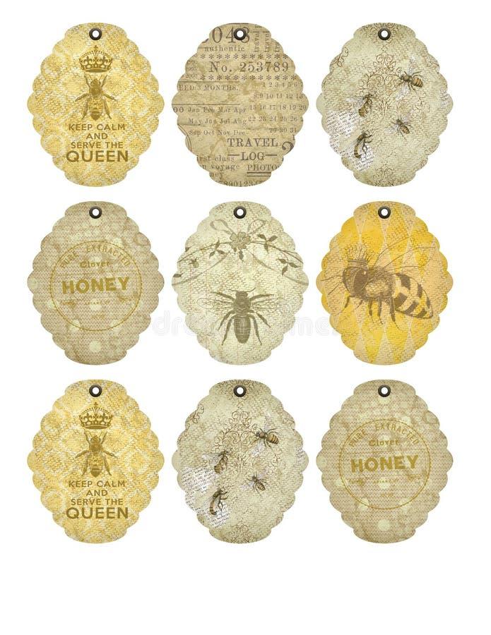 Folha imprimível da etiqueta - colmeia do apiário da abelha do vintage etiqueta - zangão - Entemology - insetos - abelha ilustração royalty free
