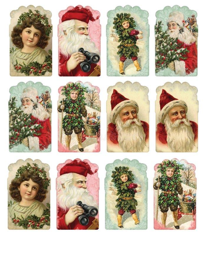 Folha imprimível da etiqueta - etiquetas do presente - variedade da etiqueta do Natal do vintage ilustração royalty free