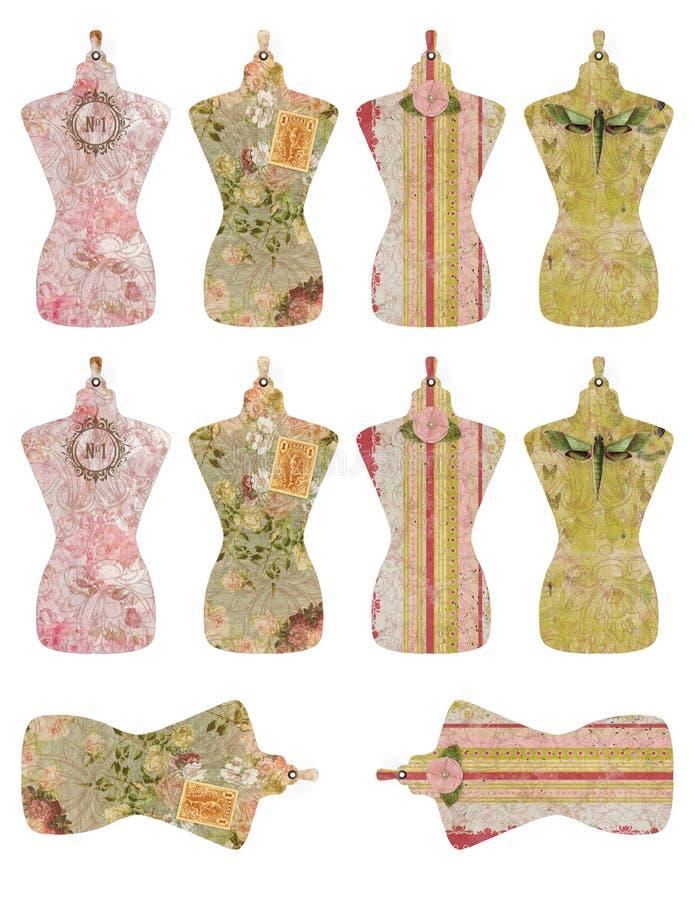 Folha imprimível da etiqueta - vestido da colagem forma - noções da costura - fabricação de roupa - vintage Dressform ilustração do vetor