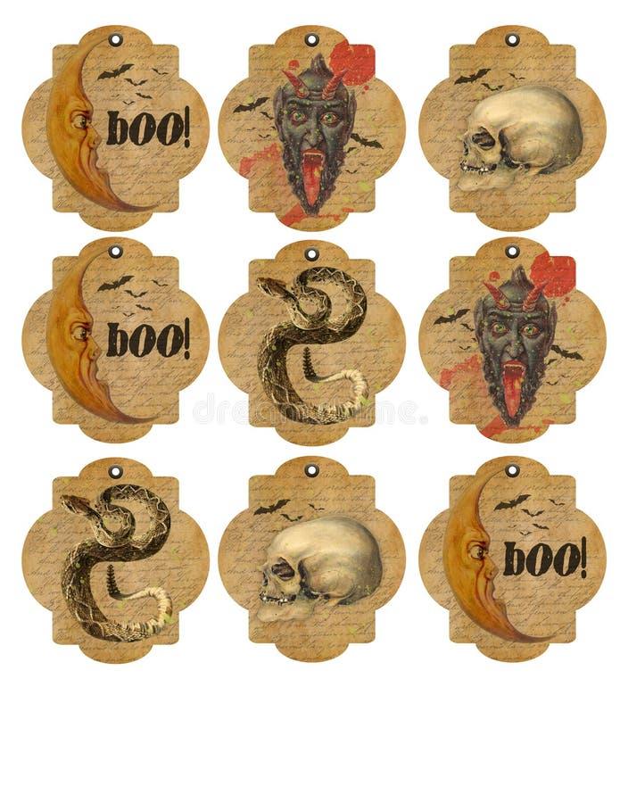 Folha imprimível da etiqueta - vintage Dia das Bruxas - crânio - lua - serpente - bastões - etiquetas imprimíveis ilustração do vetor
