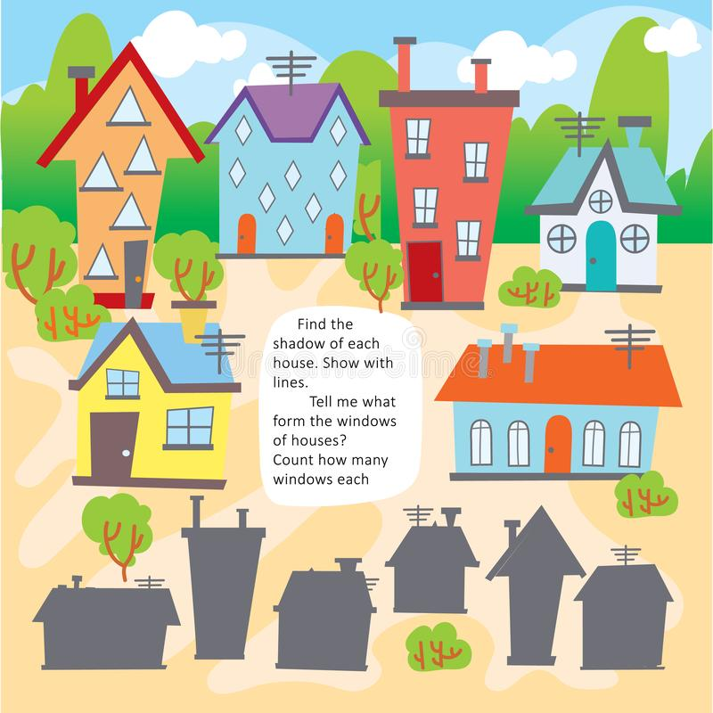 Folha imprimível do jogo do formulário da casa do achado da criança da lógica ilustração stock