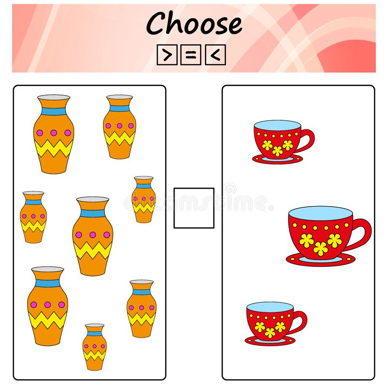 folha Jogo para crianças - escolha mais, menos ou o igual Aprendendo a matemática, números Tarefas para crianças prées-escolar ilustração royalty free