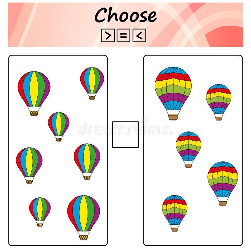 folha Jogo para crianças - escolha mais, menos ou o igual Aprendendo a matemática, números Tarefas para crianças prées-escolar ilustração do vetor