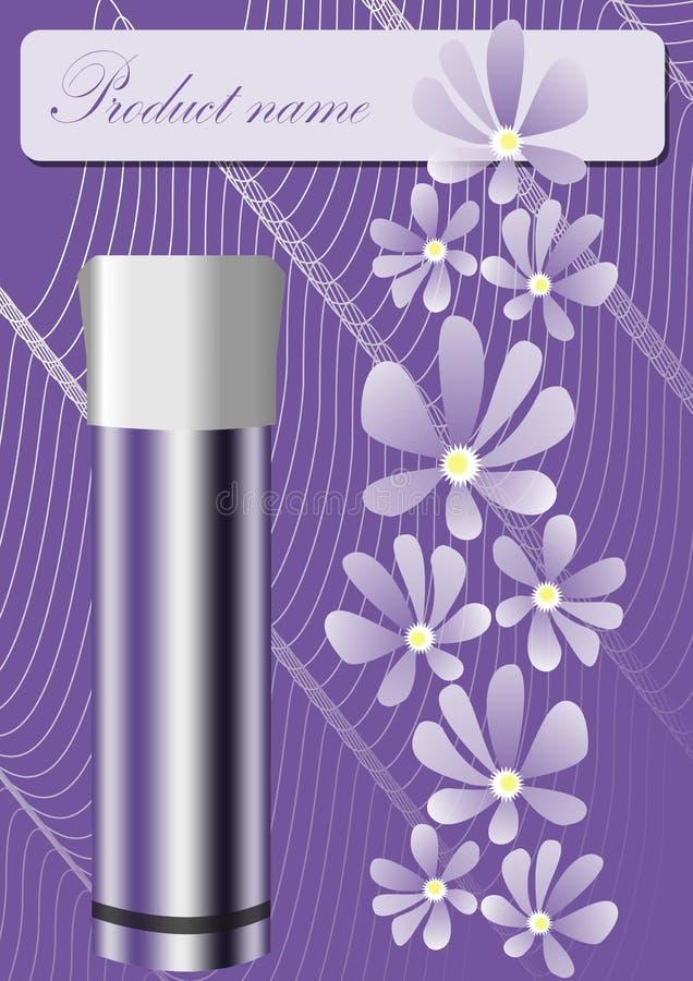 Folha no projeto roxo na moda, recipiente metálico do produto dos cosméticos com tampão branco, flores macias do lila, curvas ond ilustração royalty free