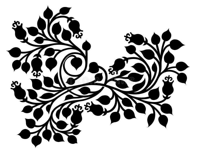Folha ornamentado com o tracery da folha e da flor ilustração do vetor