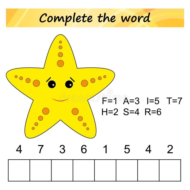 Folha para crianças Jogo educacional do enigma das palavras para crianças Coloque as letras na ordem direita ilustração royalty free
