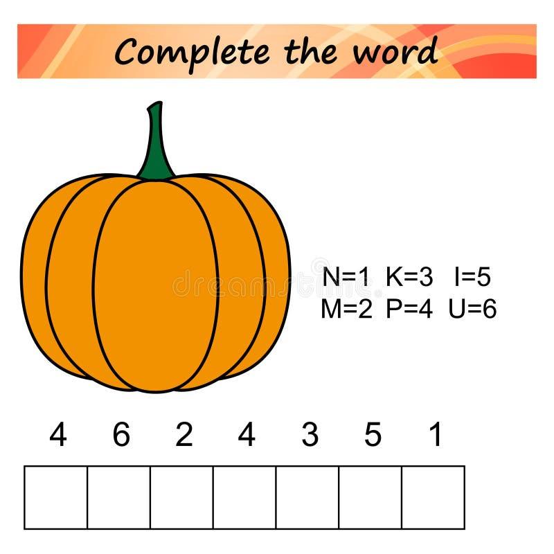Folha para crianças Jogo educacional do enigma das palavras para crianças Coloque as letras na ordem direita ilustração do vetor