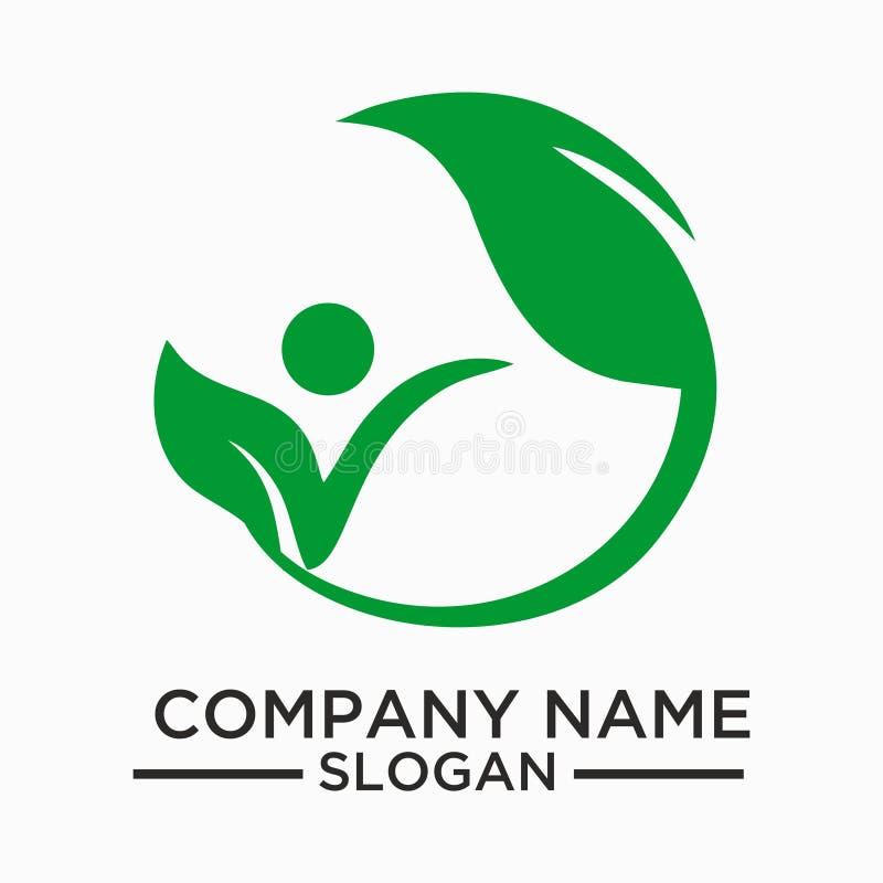 A folha, planta, logotipo, ecologia, pessoa, bem-estar, verde, folhas, grupo do ícone do símbolo da natureza do vetor projeta ilustração stock