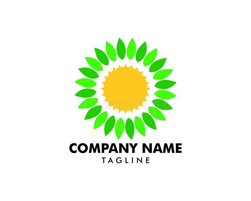 Folha Sun Logo Design Element ilustração royalty free