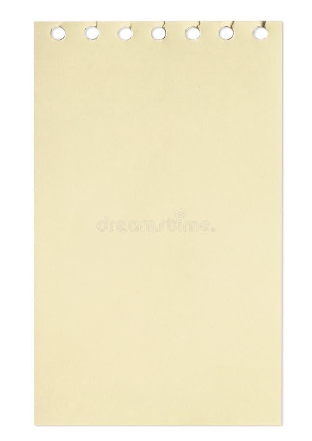 Folha vazia do papel marrom de um caderno foto de stock
