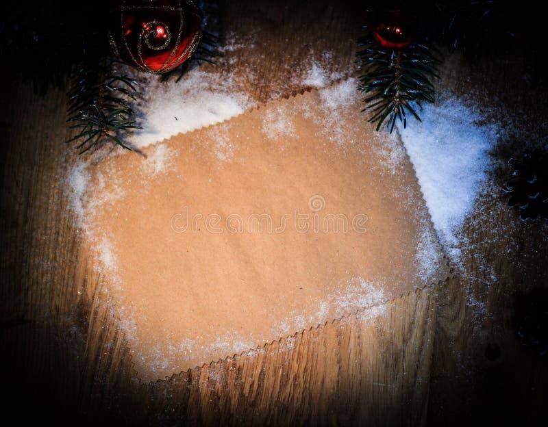 Folha vazia para cumprimentos e decorações do Natal imagem de stock