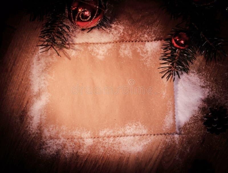 Folha vazia para cumprimentos e decorações do Natal imagens de stock royalty free