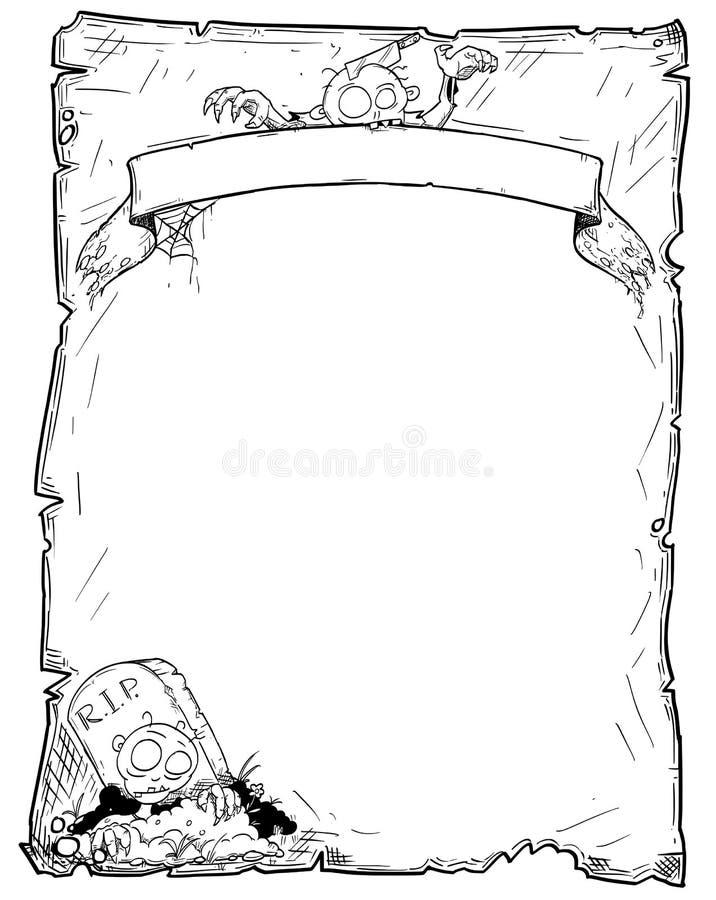 Folha velha do rolo do quadro de Dia das Bruxas com zombis ilustração stock
