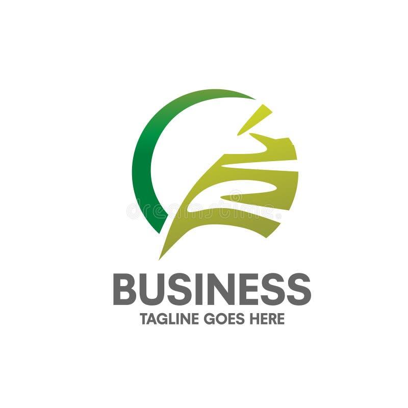 Folha verde abstrata com conceito do logotipo do círculo ilustração royalty free