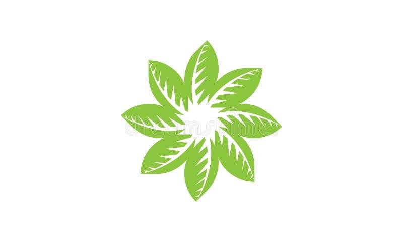 Folha verde Logo Template da ecologia - cuidados m?dicos naturais do alimento biol?gico fresco verde do Logotype de Eco da sa?de ilustração do vetor
