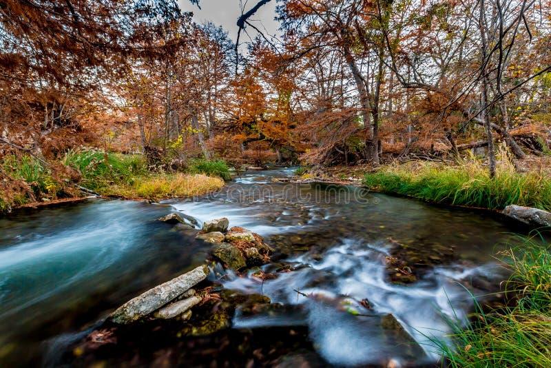 Folhagem de outono bonita nas águas azuis rápidas de seda de Guadalupe River, Texas foto de stock royalty free