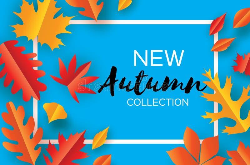 Folhas bonitas do corte do papel do outono Olá! outono Molde do inseto de setembro Quadro do retângulo Espaço para o texto origam ilustração stock
