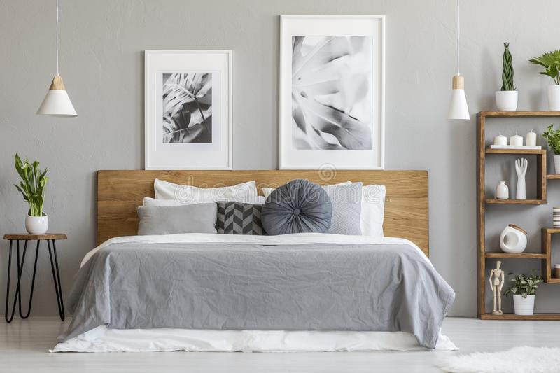 Folhas cinzentas na cama de madeira ao lado da tabela com a planta no interior do quarto com cartazes Foto real fotos de stock royalty free