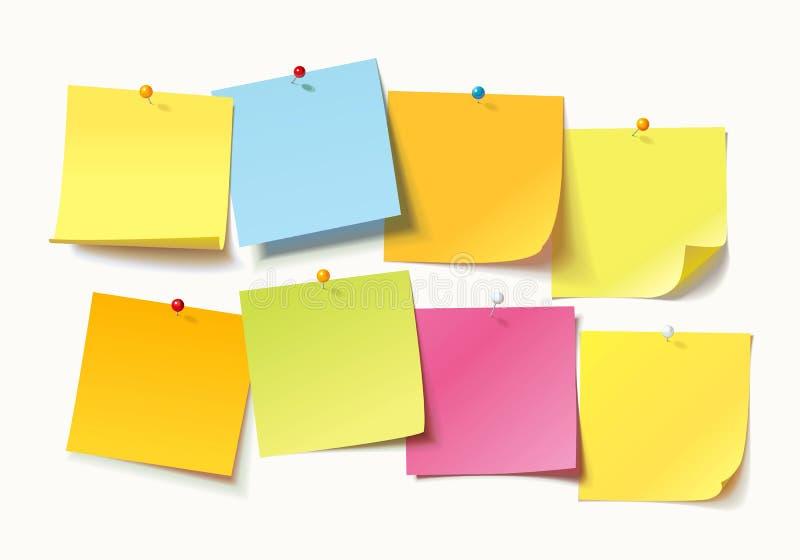 Folhas coloridas de papéis de nota com o pino ondulado do canto e do impulso ilustração stock