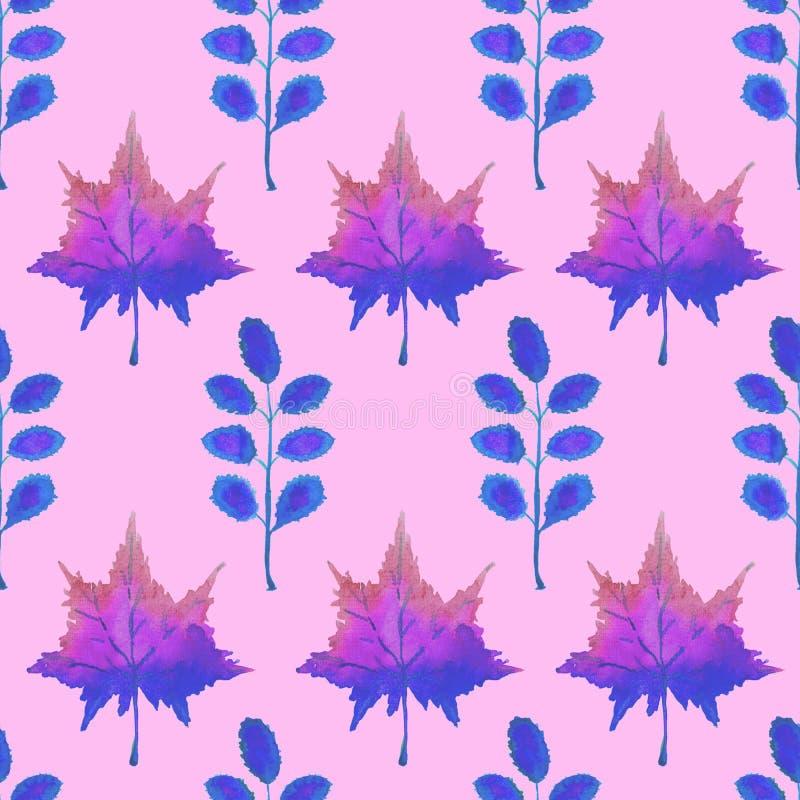 Folhas coloridas do bordo e da acácia do outono, ilustração pintado à mão da aquarela na paleta de cores roxa azul, teste padrão  ilustração stock
