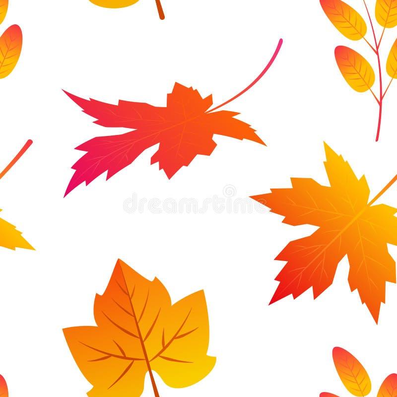 Folhas coloridas no estilo liso, teste padrão sem emenda ilustração stock