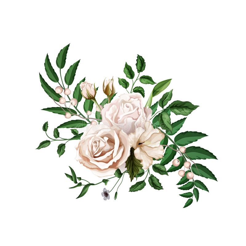 Folhas cor-de-rosa do ramalhete da aquarela realística do vetor ilustração stock