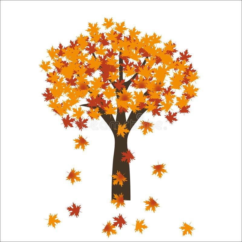 Folhas da árvore de bordo do outono no fundo brilhante Eps 10 ilustração stock