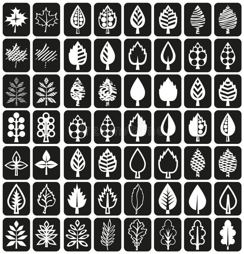 Folhas da árvore dos ícones no preto ilustração stock