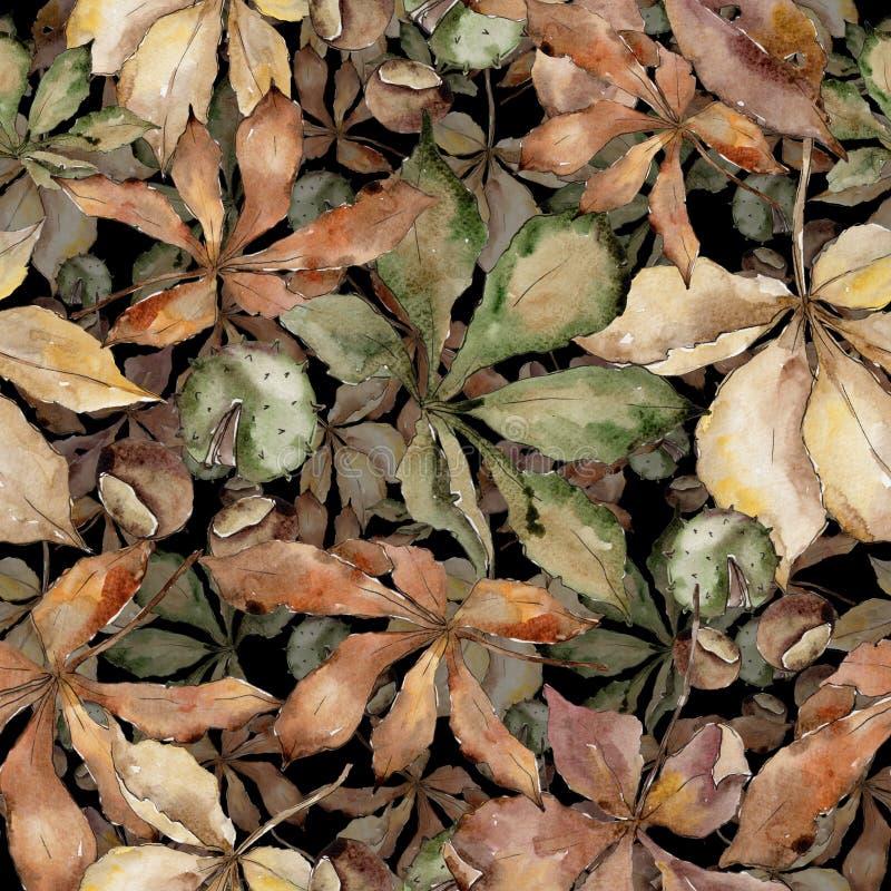 Folhas da castanha do outono Folha floral do jardim botânico da planta da folha Teste padrão sem emenda do fundo ilustração royalty free